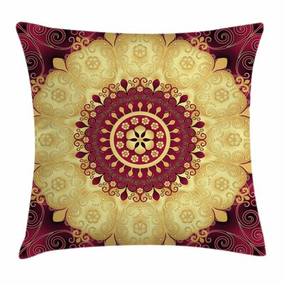 Mandala Indian Old Art Square Pillow Cover Size: 16 x 16