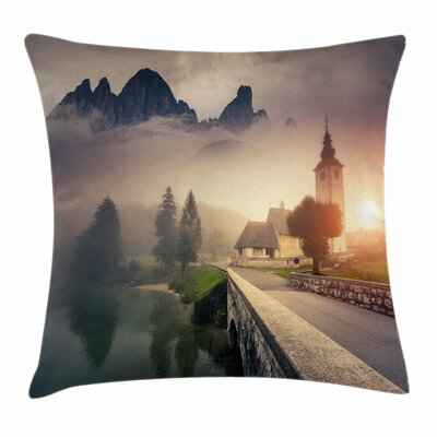 Foggy Morning Scenery Square Pillow Cover Size: 24 x 24