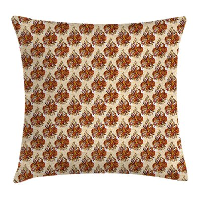 Retro Floral Ornaments Square Pillow Cover Size: 24 x 24
