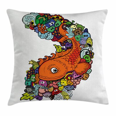 Kids Decor Big Fish Ocean Life Square Pillow Cover Size: 16 x 16