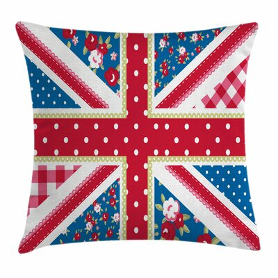 Shabby Elegance Decor British Flag Square Pillow Cover Size: 18 x 18