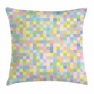 Pastel Colorful Squares Mosaic Square Pillow Cover Size: 18 x 18