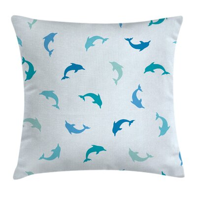 Jumping Dolphins Square Pillow Cover Size: 18 x 18