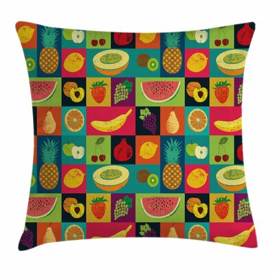 Pop Art Grunge Fruits Square Pillow Cover Size: 18 x 18