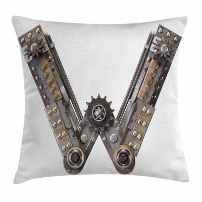 Metal Letter Square Pillow Cover Size: 16 x 16