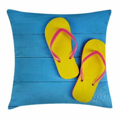 Flip Flops Pier Square Pillow Cover Size: 16 x 16