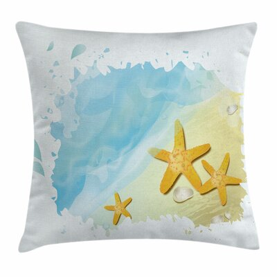 Starfish Decor Artistic Beach Square Pillow Cover Size: 24 x 24