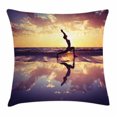 Yoga Woman on Beach Dramatic Square Pillow Cover Size: 18 x 18
