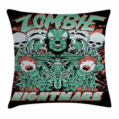 Zombie Decor Retro Skulls Ghost Square Pillow Cover Size: 18 x 18