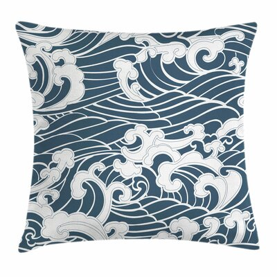Japanese Wave River Storm Retro Square Pillow Cover Size: 18 x 18