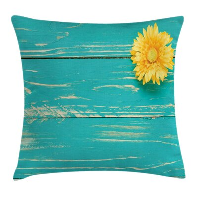 Vintage Wooden Spring Floral Square Pillow Cover Size: 20 x 20