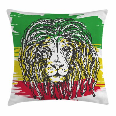 Rasta Hair Style Lion Portrait Square Pillow Cover Size: 20 x 20
