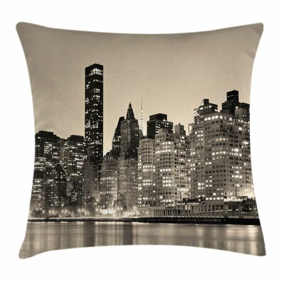 New York Manhattan City Night Square Pillow Cover Size: 18 x 18