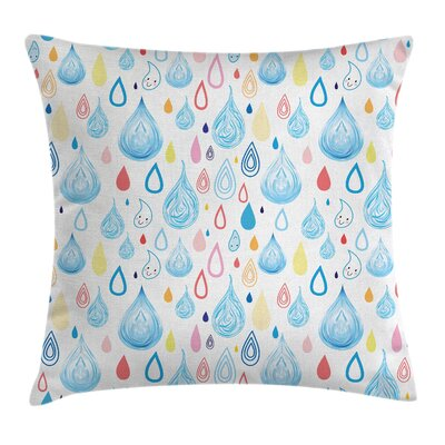 Kids Room Decor Funny Raindrop Square Pillow Cover Size: 16 x 16