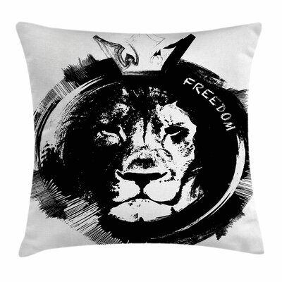 Lion King of the Forest Freedom Square Pillow Cover Size: 16 x 16