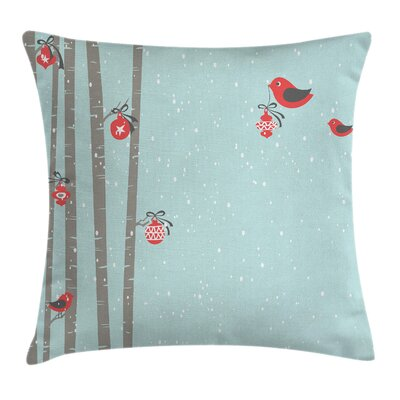Christmas Cute Bird Winter Square Pillow Cover Size: 20 x 20