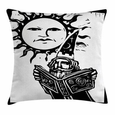 Fantasy Wizard with Magic Book Square Pillow Cover Size: 18 x 18