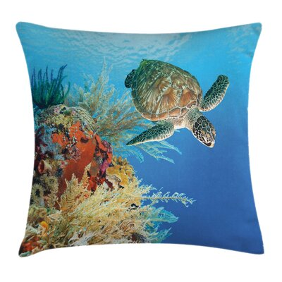 Exotic Turtle Coral Square Pillow Cover Size: 18 x 18