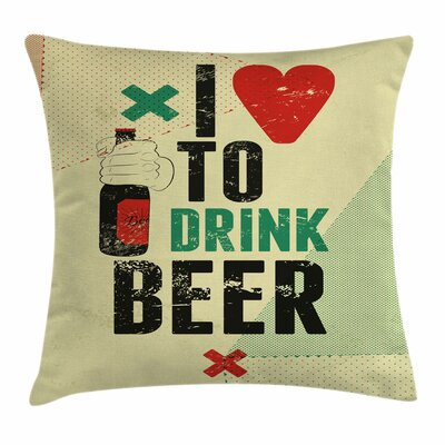 Love Beer Grunge Hand Square Pillow Cover Size: 24 x 24