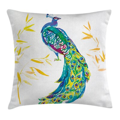 Peacock Decor Case Floral Ornaments Square Pillow Cover Size: 16 x 16