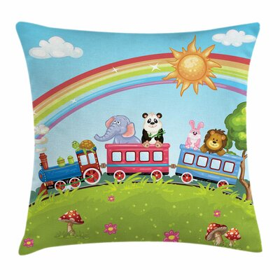 Zoo Animal Train Rainbow Funny Square Pillow Cover Size: 16 x 16