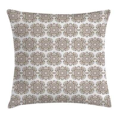 Damask Vintage Round Baroque Square Pillow Cover Size: 18 x 18
