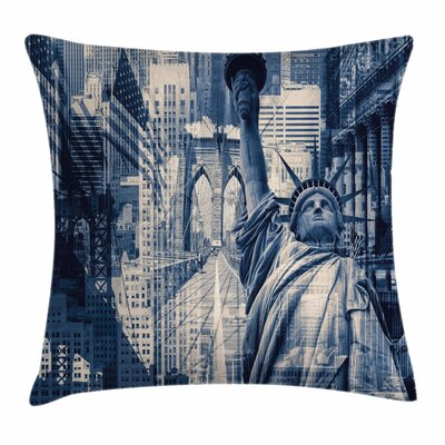 United States NY Liberty Statue Square Pillow Cover Size: 18 x 18