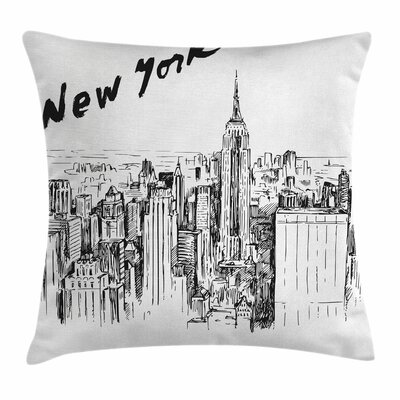 Vintage Hand Drawn City Square Pillow Cover Size: 20 x 20