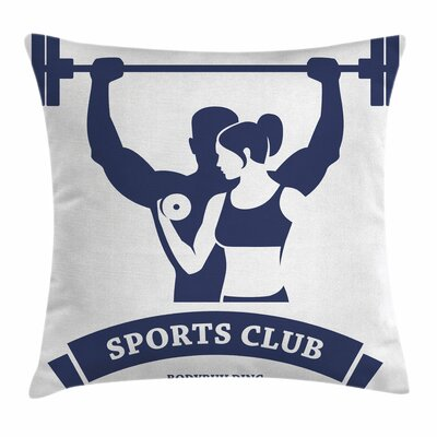 Fitness Bodybuilders Couple Square Pillow Cover Size: 16 x 16