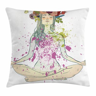 Yoga Girl Floral Wreath Lotus Square Pillow Cover Size: 18 x 18