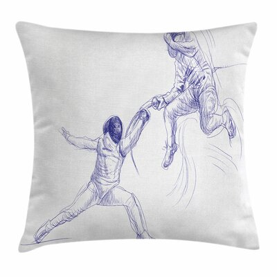 Sports Fencing Duel Sketchy Square Pillow Cover Size: 18 x 18