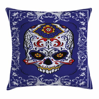 Skull Scary Floral Gothic Square Pillow Cover Size: 16 x 16