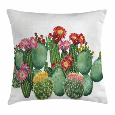 Cactus Saguaro Tropical Square Pillow Cover Size: 16 x 16