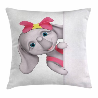 Elephant Funny Cartoon Square Pillow Cover Size: 24 x 24