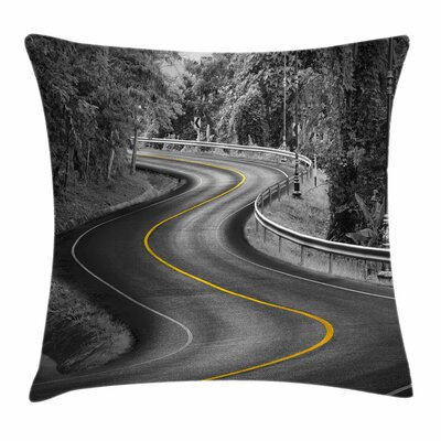 Asphalt Road Square Pillow Cover Size: 24 x 24