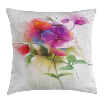 Flower Blooming Orchid Pastel Square Pillow Cover Size: 24 x 24