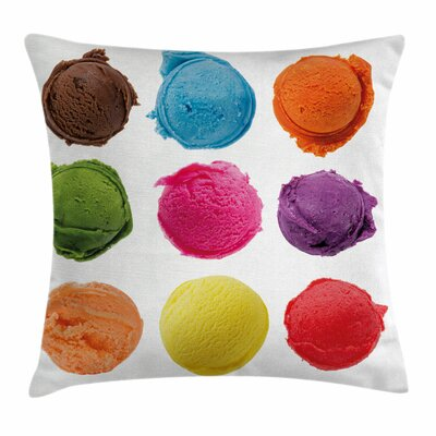 Ice Cream Yummy Summer Square Pillow Cover Size: 16 x 16