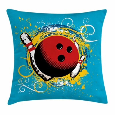 Bowling Party Fun Hobby Retro Square Pillow Cover Size: 16 x 16