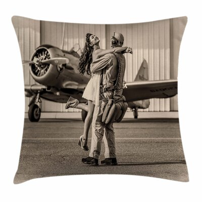Vintage Airplane Homecoming Square Pillow Cover Size: 16 x 16