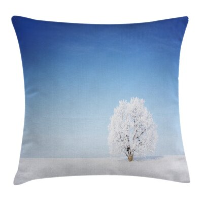 Alone Tree Snowy Field Square Pillow Cover Size: 18 x 18