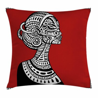 African Woman Ethno Figures Square Pillow Cover Size: 24 x 24