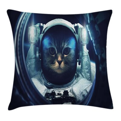Space Cat Glass Rocket Galaxy Square Pillow Cover Size: 18 x 18
