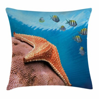 Starfish Decor Coral Fishes Sea Square Pillow Cover Size: 16 x 16