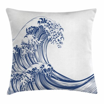 Japanese Wave Oriental Vintage Square Pillow Cover Size: 18 x 18