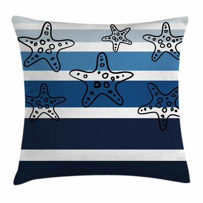 Starfish Decor Stripes Starfish Square Pillow Cover Size: 16 x 16