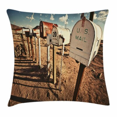 United States Old Mailboxes Square Pillow Cover Size: 16 x 16