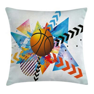 Teen Room Decor Ball Zigzags Square Pillow Cover Size: 16 x 16