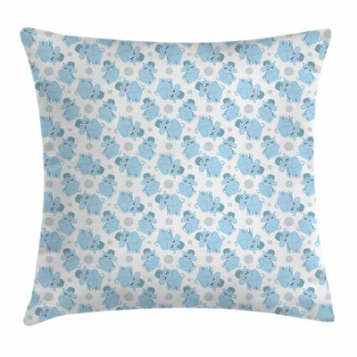 Elephant Cute Happy Square Pillow Cover Size: 16 x 16