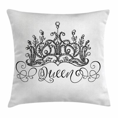 Queen Crown Lettering Baroque Square Pillow Cover Size: 20 x 20