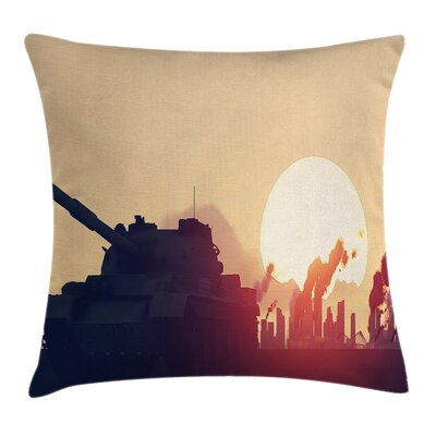 Ivory Case Tank Destroy Skyscrapers Square Pillow Cover Size: 20 x 20
